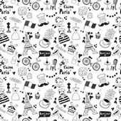 Black Paris doodles on white background