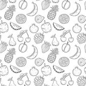 Black hand drawn fruits signs on white seamless background