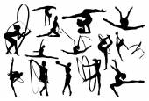 Black gymnastics silhouettes on white background