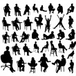 Black sitting people silhouettes on white backgrou...