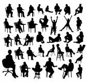 Black sitting people silhouettes on white background