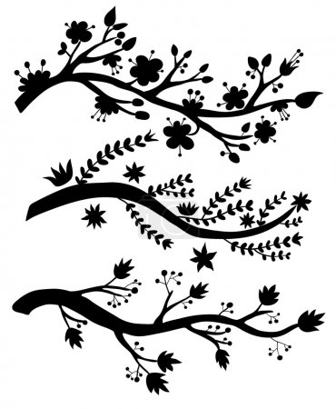 Illustration for Black branches silhouettes on white background - Royalty Free Image