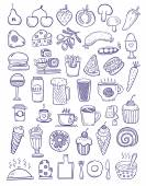 Purple food doodles