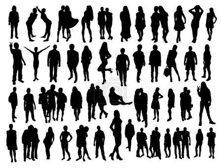 Illustration pour Silhouettes de personnes noires sur fond blanc - image libre de droit