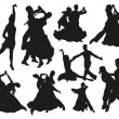 Black dancing pairs silhouettes on white backgroun...