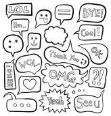 Set plain bubbles with popular slogans A speech bubble for your design Bubble text Dialog bubble for comic