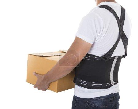 Worker wear back support belts for support and improve back posture.