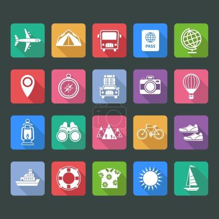Illustration pour Ensemble d'icônes vectorielles plates de voyage et de tourisme - image libre de droit
