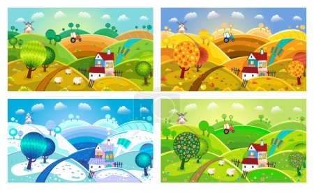 Illustration for Rural landscape with hills, house, mill and tractor. Four seasons. - Royalty Free Image