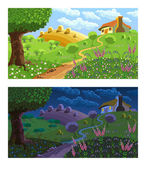 Rural landscape Day and night