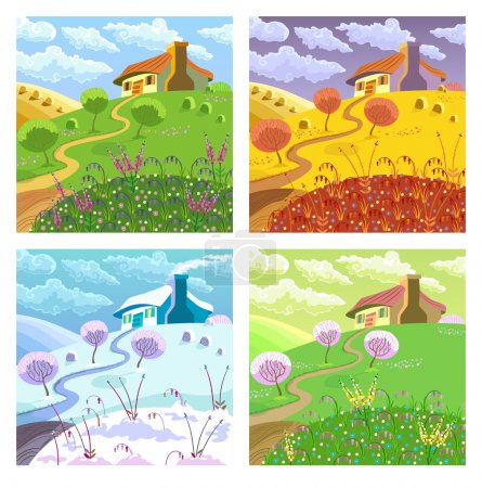 Illustration for Rural landscape with hills, house, garden and hay. Four seasons. - Royalty Free Image