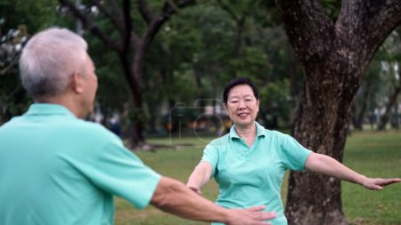 Asian Senior Elderly couple Practice Taichi, Qi Gong exercise ou