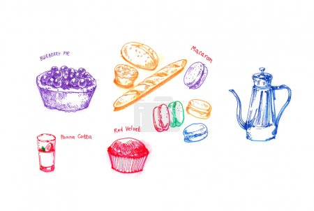 Afternoon tea party with variety of dessert hand drawing illustr