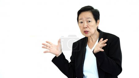 Asian senior manager business woman shouting and angry abstract