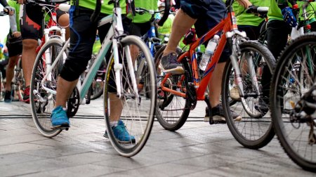 Photo for Cycling race, car free green day biking abstract - Royalty Free Image