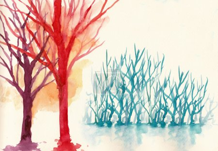 Photo for Colorful trees in winter background.  water colour painting - Royalty Free Image