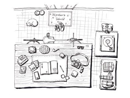 Foto de La escena hipster de casa establece elementos dibujados a mano ilustración - Imagen libre de derechos