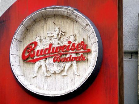 Budweiser beer, wooden medival style logo...