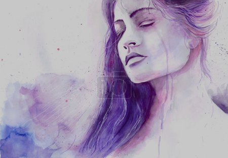 Photo for Watercolor beautiful girl in a state of depression crying - Royalty Free Image