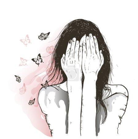 sad girl and butterflies