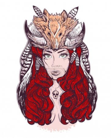 Illustration for Beautiful woman with long hair and horns fox - Royalty Free Image