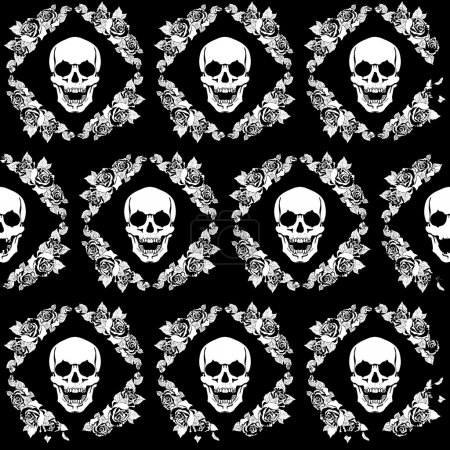 Illustration for A human skull in a frame of flowers pattern - Royalty Free Image