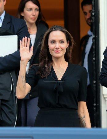 Angelina Jolie leaves the Greek