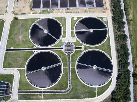 aerial view of Thessaloniki city sewage treatment plant