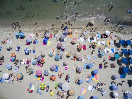 Aerial view of beach in Katerini, Greece.
