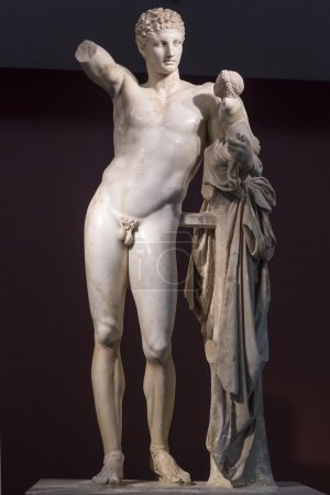 Hermes and Dionysus, ancient classical Greek statue of Hermes of
