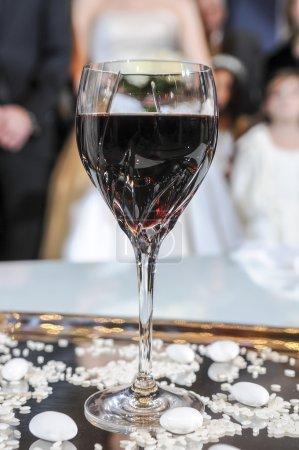 Glass of wine for wedding ceremony. Wedding ceremony. Orthodox w