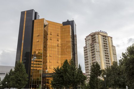 View of the architecture and buildings in Baku, in Azerbaijan.