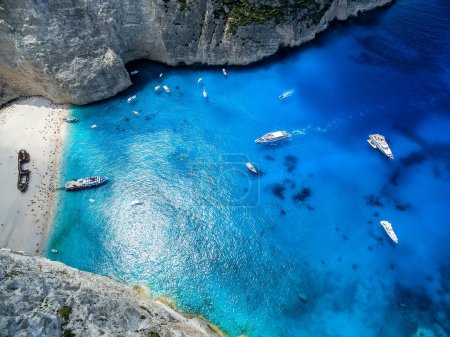 Photo for View of Navagio (Shipwreck) Beach in Zakynthos, Navagio Beach is a popular attraction among tourists visiting the island of Zakynthos - Royalty Free Image