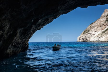 Tourists visiting the Blue caves on Zakynthos Island in Greece