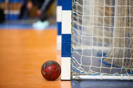 Handball ball next to the goalpost prior to the Greek Women Cup