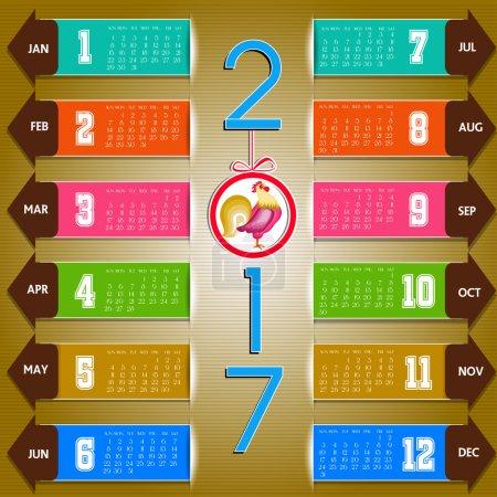Calendar for 2017 set object design elements vector