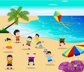 Happy kids having fun on the beach