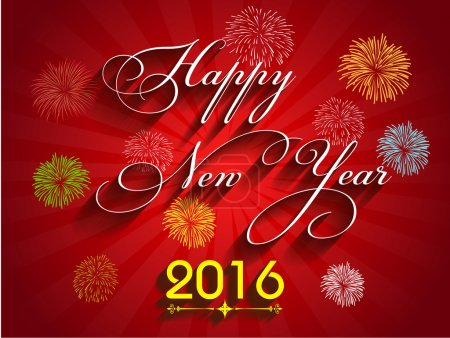 Beautiful text Happy New Year 2016