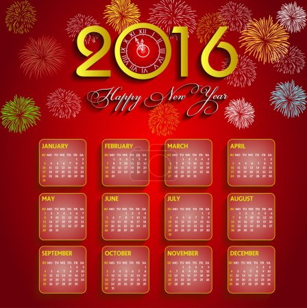 Calendar 2016 happy new year vector illustration