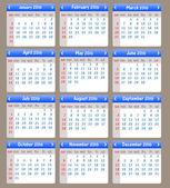 Šťastný nový rok kalendář 2016 vektorové ilustrace