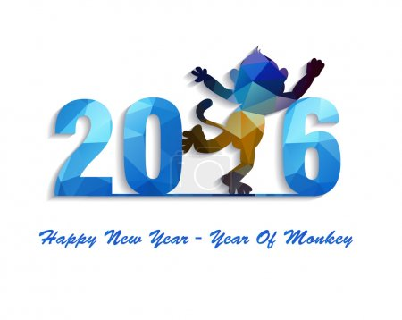 Happy New Year 2016 greeting card stylized triangle polygonal model.  Year of monkey