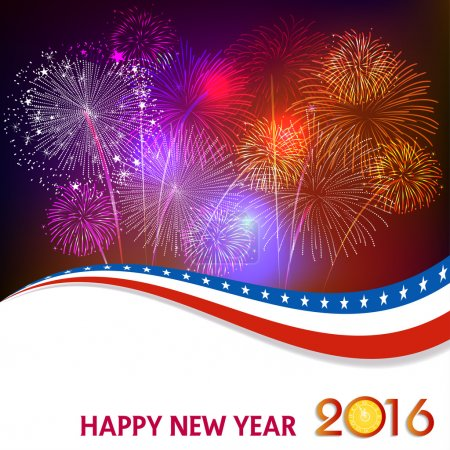 Happy New Year 2016 with fireworks background