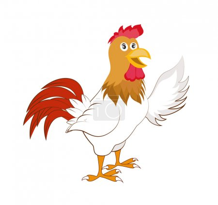 Cartoon rooster. Isolated object for design element