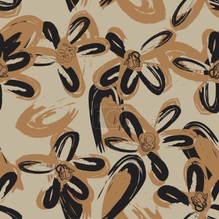 Illustration pour Brown Floral coup de pinceau fond de motif sans couture pour les impressions de mode, graphiques, milieux et métiers - image libre de droit