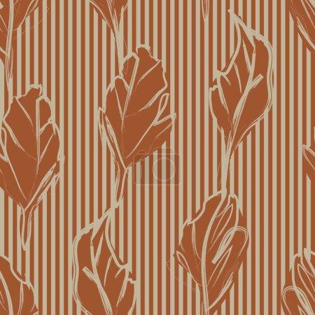 Illustration pour Brown Floral motif botanique tropical sans couture avec fond rayé pour les textiles et les graphiques de mode - image libre de droit