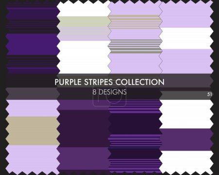 Illustration pour La collection de motifs sans couture à rayures violettes comprend 8 modèles pour textiles de mode, graphiques - image libre de droit
