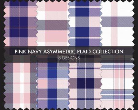 Illustration pour Rose Marine Asymétrique Plaid collection de motifs sans couture comprend 8 modèles pour les textiles de mode et graphiques - image libre de droit