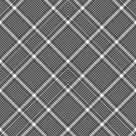 Illustration for Black and White Chevron Plaid Tartan textured Seamless pattern design suitable for fashion textiles and graphics - Royalty Free Image