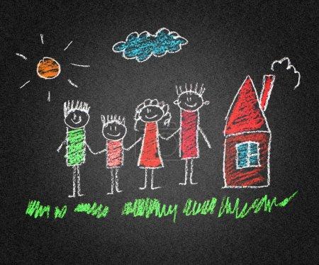 Photo pour Heureux parents et enfants asphalte enfants dessin - image libre de droit