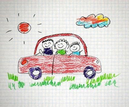 Photo pour Parents heureux et enfants enfants enfants naïfs dessin - image libre de droit